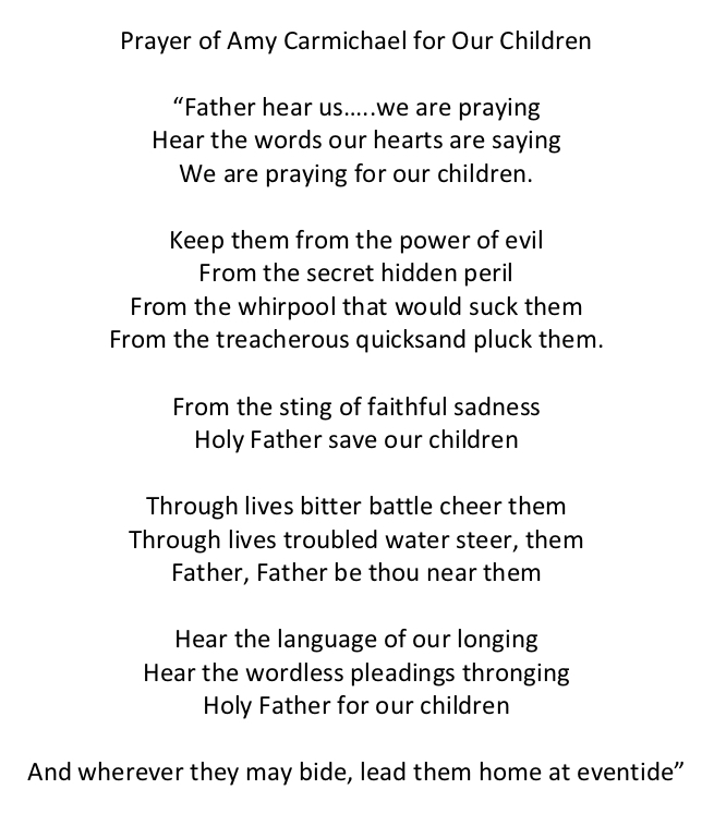 Click Here for Amy Carmichael's Prayer for our Children